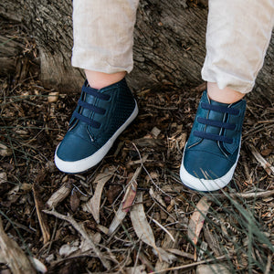 Tikitot navy leather prewalker boots for boys