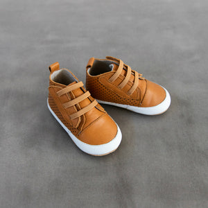 Tan leather prewalkers for baby