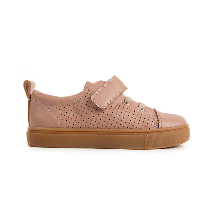 dusty pink leather kids sneakers with nude colored  sole
