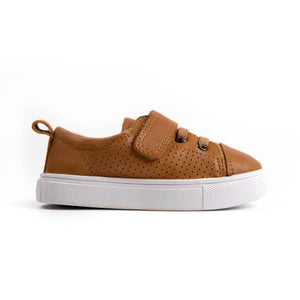 tan leather unisex sneakers for kids
