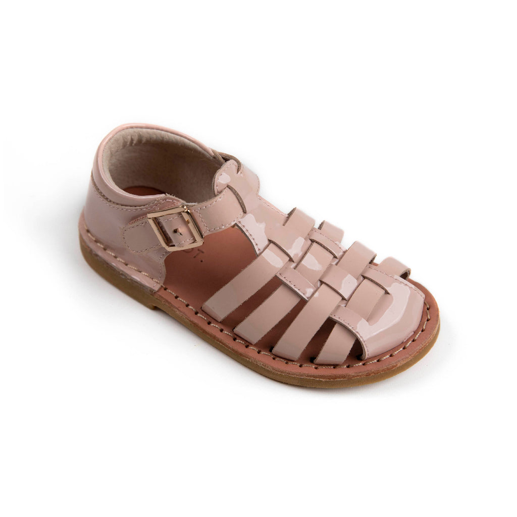patent dusty pink girls leather sandals