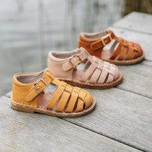 kids leather sandals in mustard pink and tan