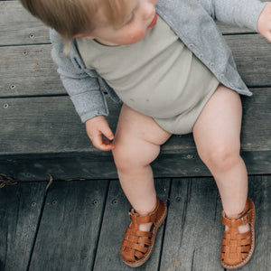 kids roman leather sandals in tan