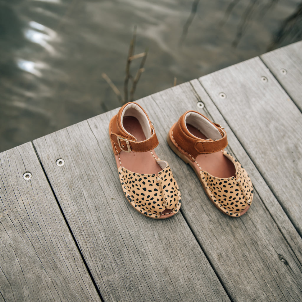 girls leather espadrille shoes in tan and camel spot