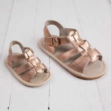 rose gold leather sandals for baby and toddler