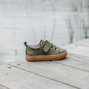 khaki leather kids shoes