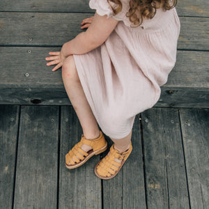 mustard traditional roman leather kids sandals