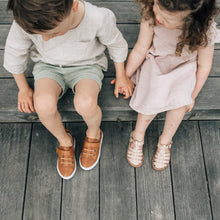 tan leather sneakers and dusty pink girls sandals