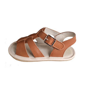 unisex toddler tan leather sandal with gold buckle