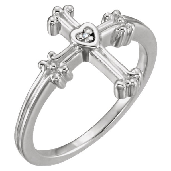 Diamond Cross Ring Sterling Silver