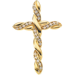 14kt Yellow 1/4 CTW Diamond Cross Pendant