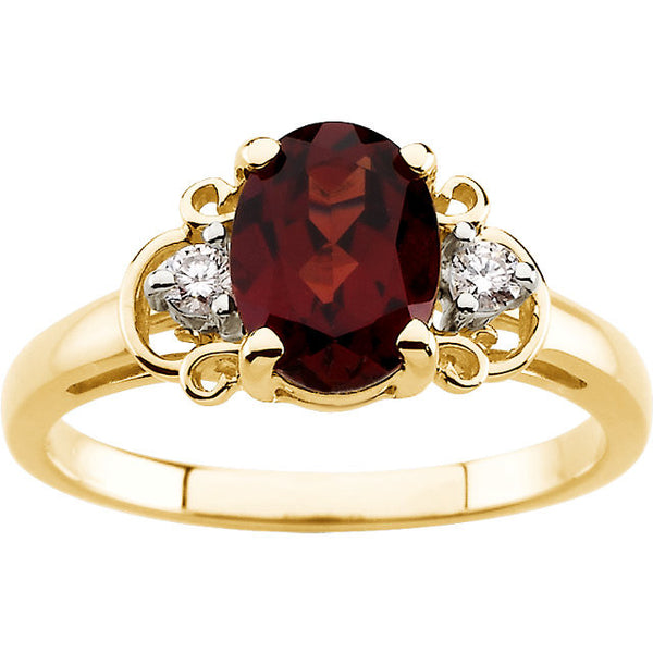 14kt Yellow Mozambique Garnet & .06 CTW Diamond Accented Ring