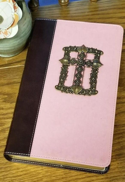 KJV Adorned with Brass Giant Print Pink