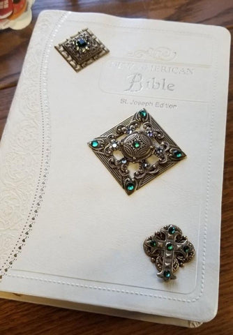 NAB White Ornate JEWELED BIBLE