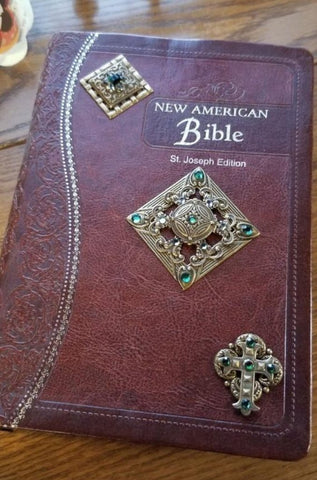 NAB Brown Ornate Jeweled Bible