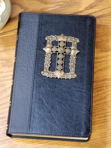 KJV Adorned with Brass Giant Print - Black