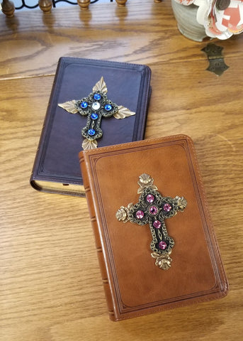 KJV Pink with Roses Jeweled Compact Bible Tan (pictured on right)
