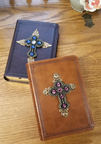 KJV Blue with Leaves Jeweled Compact Bible Brown (pictured on left)