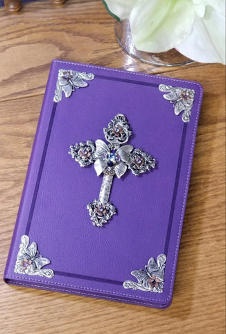 Jeweled Butterfly Large Print Bible with Swarovski® Crystals-KJV