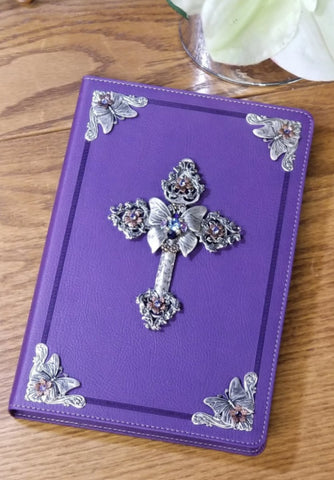 Jeweled Butterfly Large Print Bible with Swarovski® Crystals-NKJV