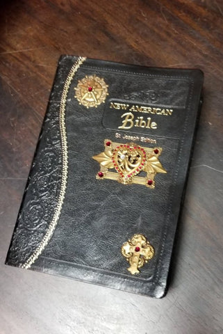 NAB Red Heart Catholic Jeweled Bible-Black