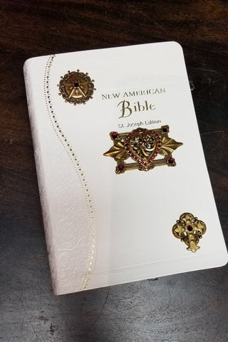 NAB Red Heart Catholic Jeweled Bible-White