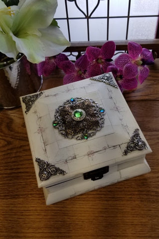 Jeweled Peridot Crystal Keepsake Bone Box