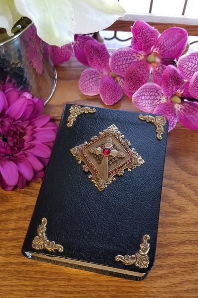 Antiqued Brass and Red accents Leather Bible - Choice of KJV or NKJV Compact Edition