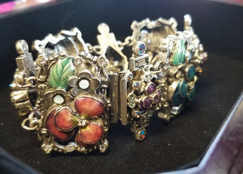ON SALE Enamel Pansy Bracelet