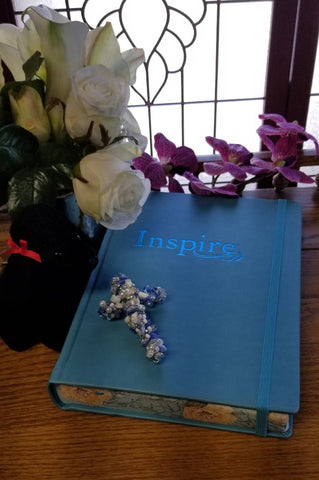 NLT Inspire Large Print Bible for Creative Journaling-Blue