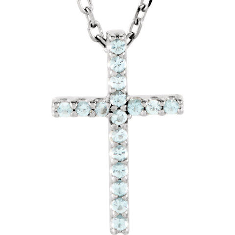 Aquamarine Cross Necklace