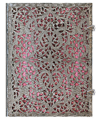 Silver Filigree Lined Journal Choice of Blush Pink or Maya Blue
