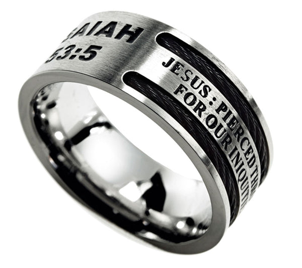 Cable Ring-Pierced-Isaiah 53:5