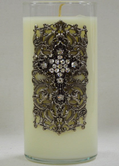 Candle - 32oz  Faith Silver Cross