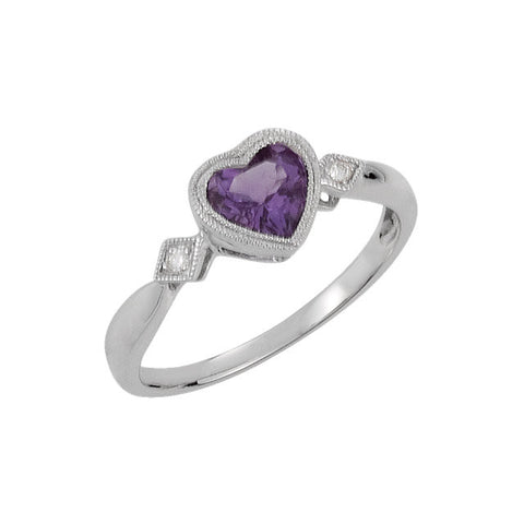 14kt White Amethyst & .02 CTW Diamond Ring