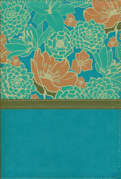 NIV Large Print Thinline Bible-Turquoise Floral