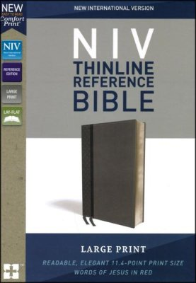 NIV Thinline Reference Bible/Large Print (Comfort Print)-Grey LeatherSoft