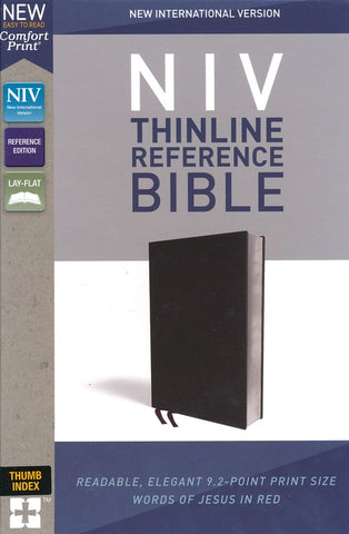 NIV Thinline Reference Bible (Comfort Print)-Black Bonded Leather-Indexed