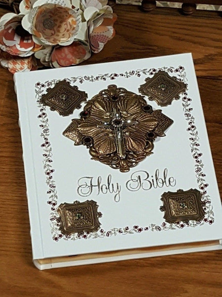 Jeweled Catholic Family Bible Ivory NAB