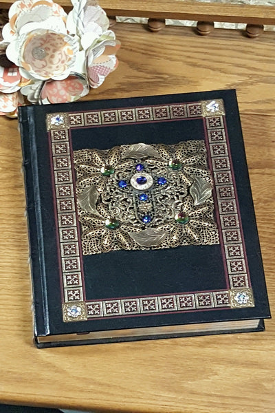 Jeweled Black/Red Catholic Family Bible NAB