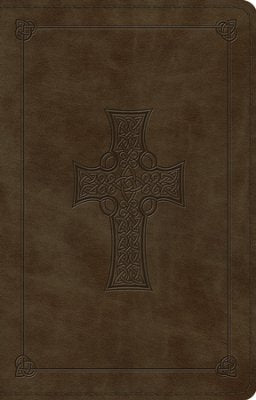 Celtic Cross Thinline Design Bible-Dark Olive ESV