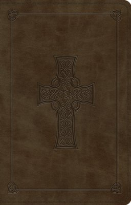 Dark Olive Celtic Cross Thinline Design Bible-ESV