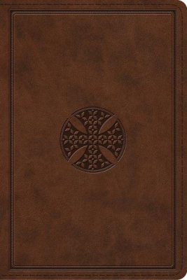 ESV Personal Size Study Bible-Brown Cross Design