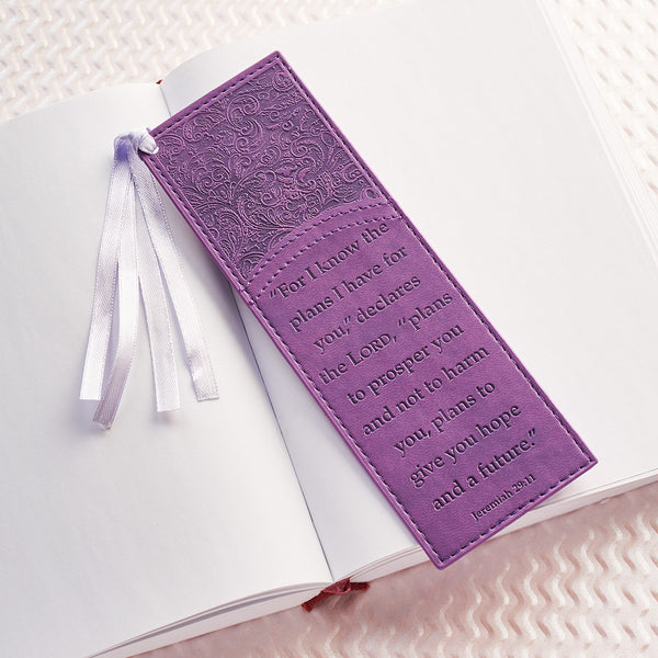 For I Know the Plans Leather Bookmark