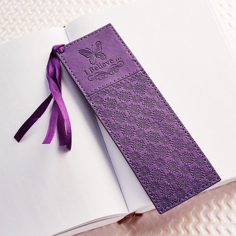I Believe Bookmark Purple