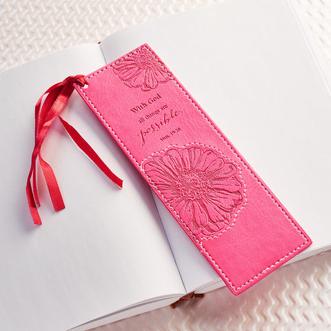 With God all things are possible LuxLeather Bookmark