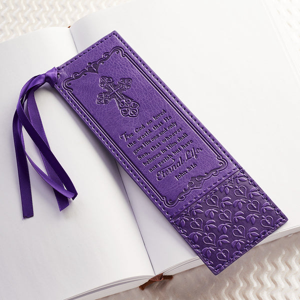 John 3:16-LuxLeather Bookmark-Purple