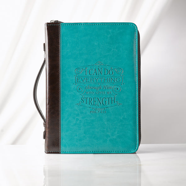 I Can Do Everything in Turquoise and Brown Philippians 4:13 Bible Cover
