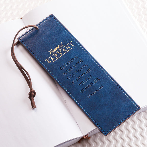 Faithful Servant, Luxleather Bookmark Blue
