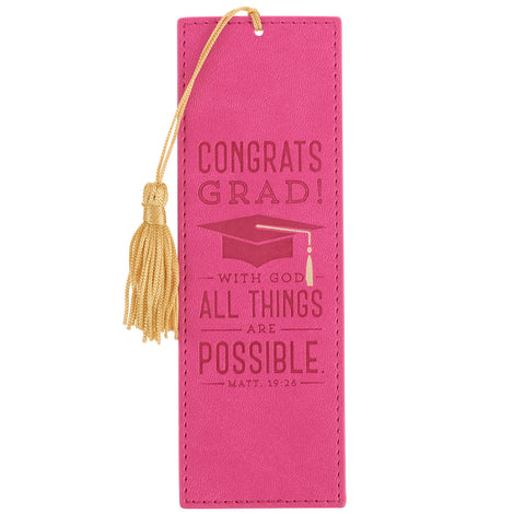 Congrats Grad! All Things are Possible Bookmark Pink